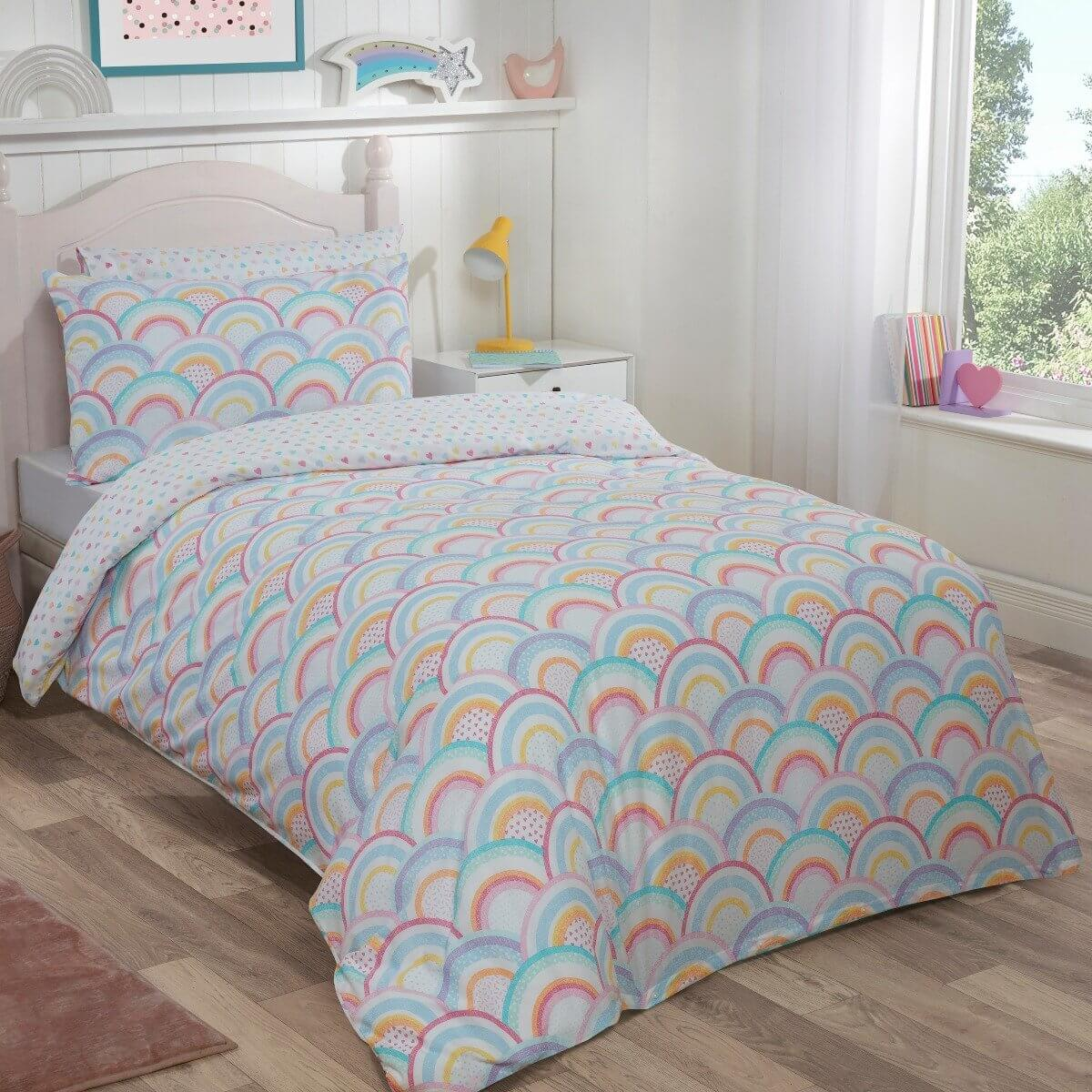 Rainbow Stripes Duvet Cover and Pillowcase Set - Twin Pack