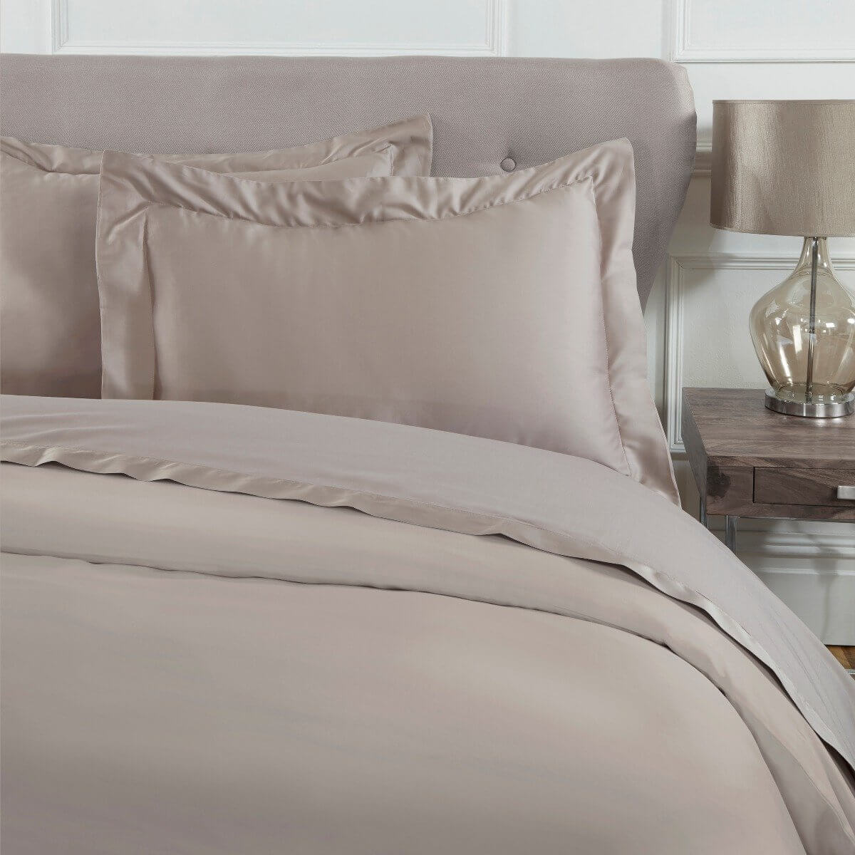 Sleepdown Pillowcase 100% Cotton Sateen Pack of Two Oxford Pillow Cover Set Anti-Allergy 300 Thread Count Luxury Bed Linen - Mink - 50 x 75cm