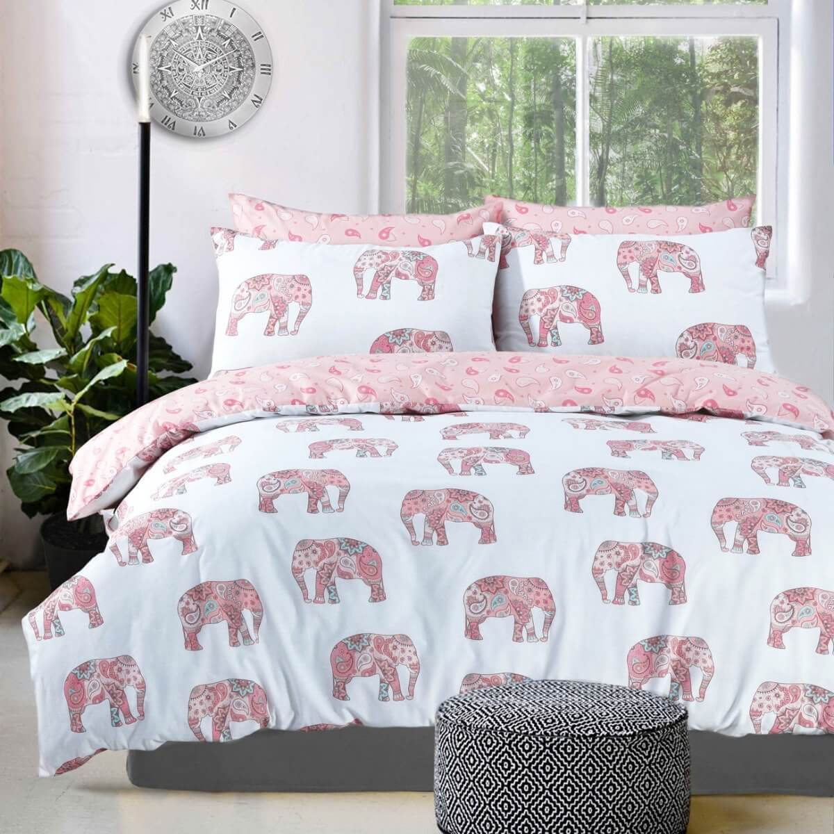 Elephant Pink Bedding - Reversible Duvet Cover and Pillowcase Set