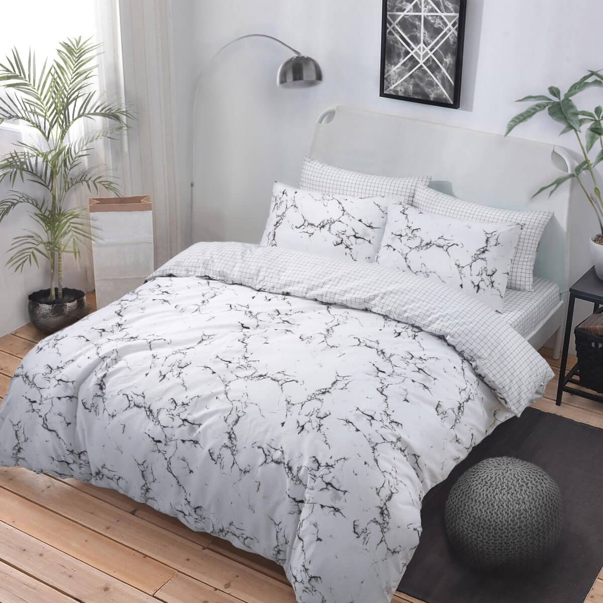 Marble Grey Bedding - Reversible Duvet Cover and Pillowcase Set
