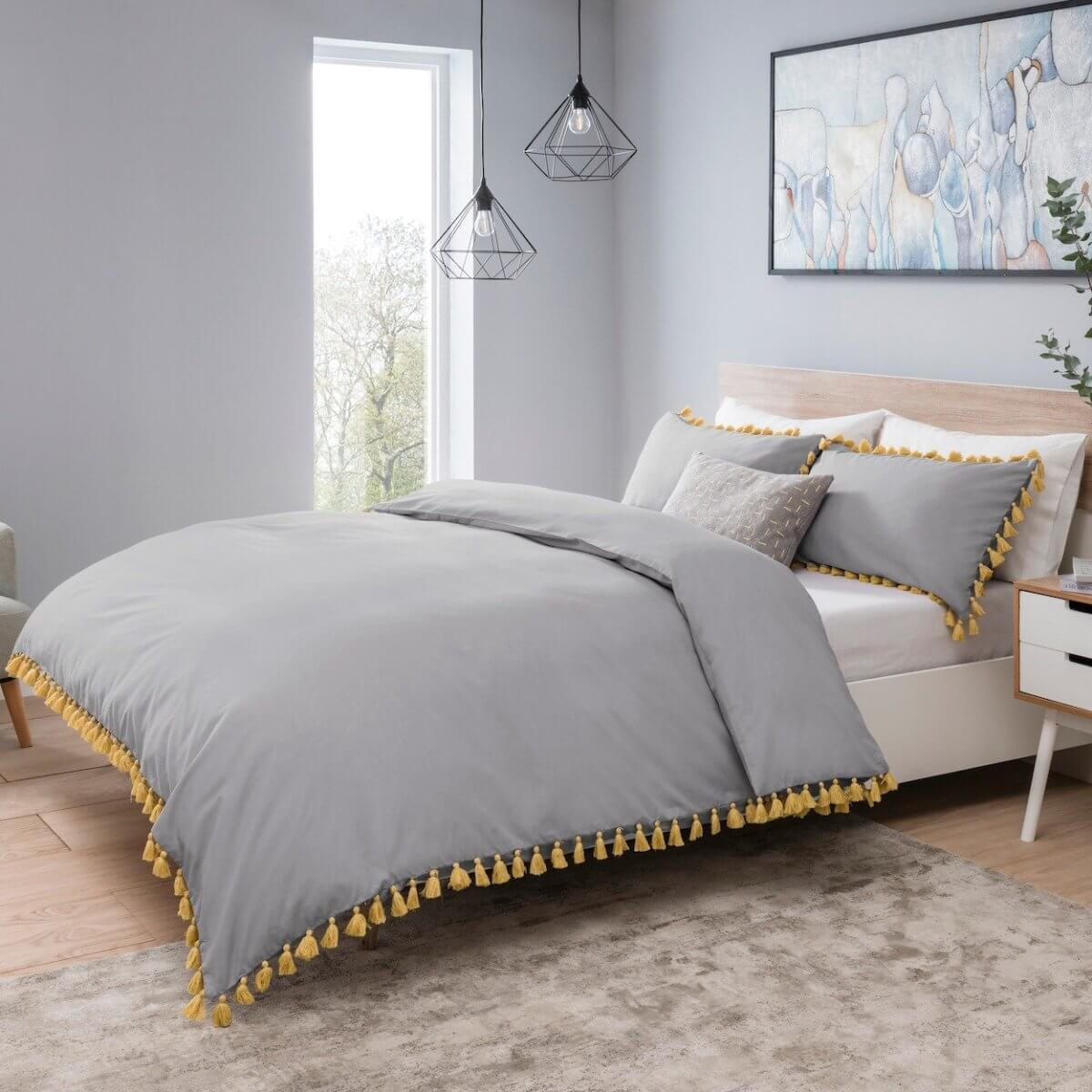 Tassels Grey With Mustard Bedding - Reversible Duvet Cover and Pillowcase Set